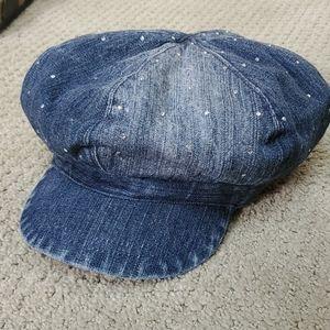 LIMITED TOO girls denim bejeweled newsboy hat